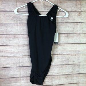 NWT TYR Durafast Elite Black Maxfit Swimsuit Sz 34